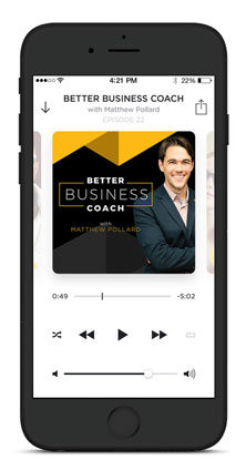 The Better Business Coach podcast on iPhone screen